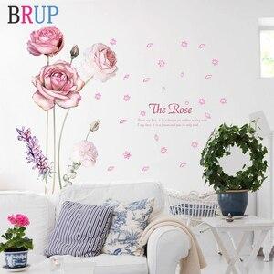10 различных стилей цветов Цветные настенные наклейки Роза Лилия домашний декор для дивана ТВ искусство росписи DIY виниловые настенные накл...
