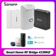 جهاز استشعار Sonoff RF Bridge 433 ميجا هرتز RF PIR 2 يعمل بمستشعر الحركة DW1 نظام إنذار للباب والنافذة من أجل أليكسا جوجل المنزل الذكي إنذار أمن الوطن