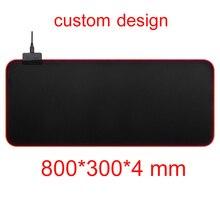 Customize Single 800*300mm Gaming Mouse Pad RGB 14 Colors LED Lighting USB Cable Keyboard Mice Mat Locked Edge Anti-Slip