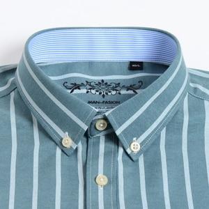 Image 2 - Camisa Casual de trabajo para hombre, camisa a cuadros a rayas Oxford, con bolsillo tipo parche, de manga larga, de cuadros gruesos