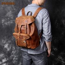 Винтажный Мужской рюкзак из натуральной кожи большой вместимости