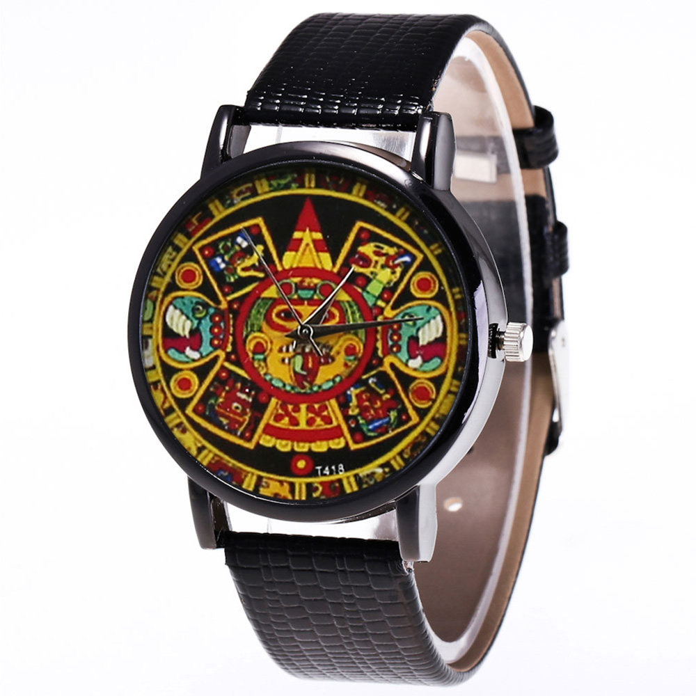 Vintage Indian Printing Style Watches Quartz Watch Faux Leather Strap Casual Watches LL@17