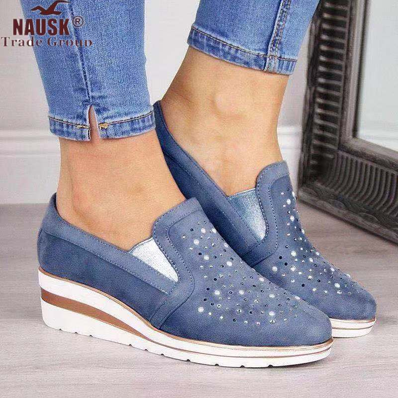 Autumn Women Flat Bling Sneakers Casual Vulcanized Shoes Female Lace Up Ladies Platform Comfort Crystal Loafers Fashion Shoes