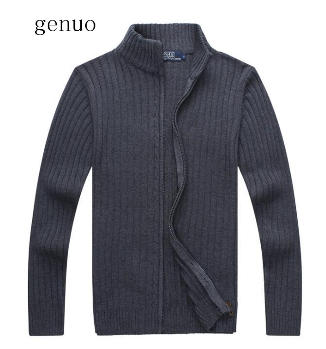 100% Cotton Fashion Mens Long Sleeve Stand-collar Knitted Sweaters Casual Mens Zipper Knitted Outerwear Mens Clothing Tops M-3XL