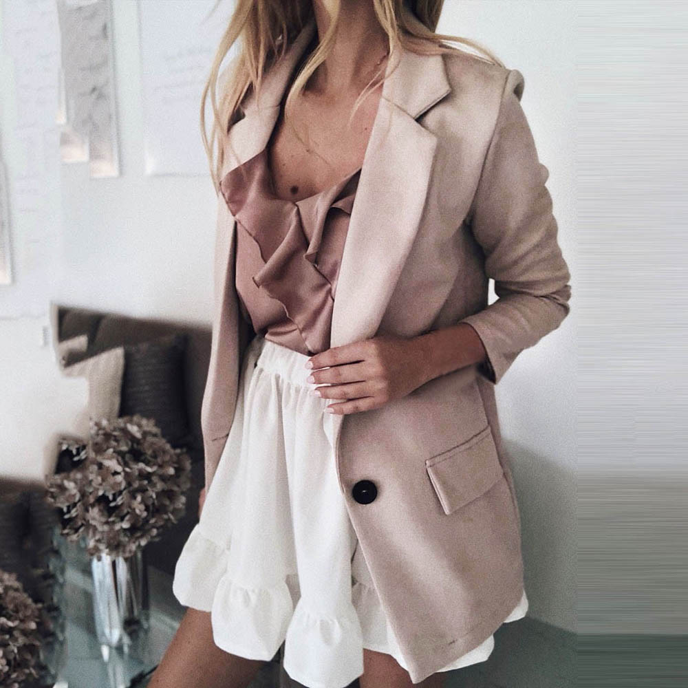 OEAK Casual Blazer Women Basic Notched Collar Solid Blazer Pockets Chic Tops Office Ladies Button Suit Jackets Plus Size