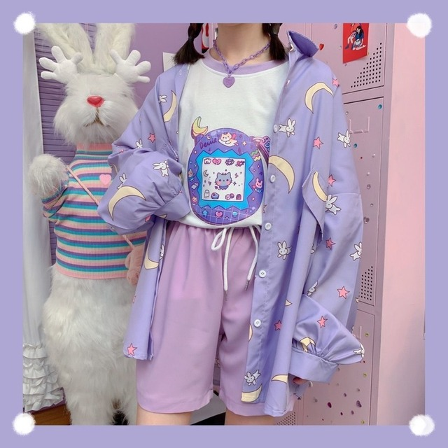 Korean Style Women Shirts Kawaii Autumn Fashion JK Uniform Blouses Women Long Sleeve Cute Loose Button Up Shirt Oversized Tops 2