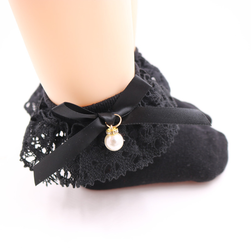 Lace Ruffle Princess Bows Socks Children Ankle Short Sock White Pink Grey Black Baby Girls Kids Toddler Spring Summer Autumn