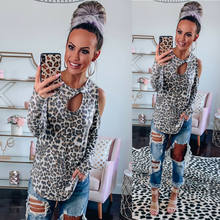 Women Long Sleeve Dripping Shirt Leaking Shoulders - Leopard Print Cut Out Cold Shoulder Top Ladies Loose Casual T-Shirt Blouse(China)