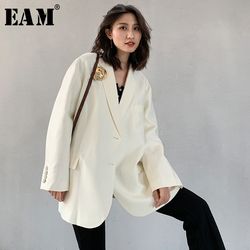 [EAM]  Women White Brief Big Size With Brooch Blazer New Lapel Long Sleeve Loose Fit  Jacket Fashion Spring Autumn 2020 1W520