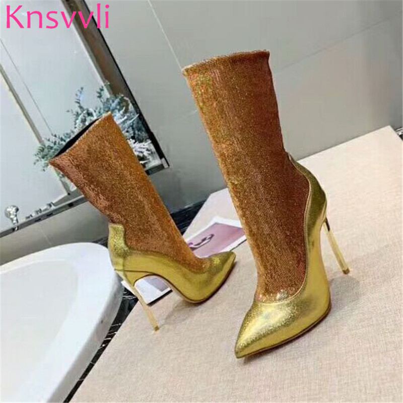 Knsvvli New Sequins Gold Ankle Boots For Women Ponted toe Stiletto Elastic Sock Boots Autumn Bling Bling High Heels Botas Mujer - 2