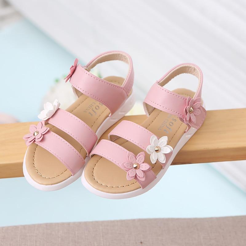 Summer Teens Girl Sandals Children flowers princess Shoes Kids Girls School Flats Sandals For Little girls pink yellow white