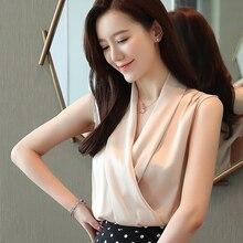 Blusas de seda para mujeres de verano blusa de satén Camisas Mujer coreana cuello en V Camisa sin mangas mujeres blusas elegantes mujeres Tops y blusas blusa mujer camisas mujer blusas mujer de moda 2019