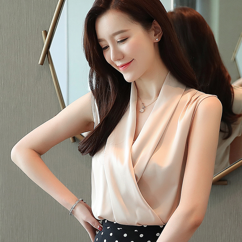 Silk   Blouses   Women Summer Satin   Blouse     Shirts   Woman Korean V-neck Sleeveless   Shirt   Women   Blouses   Elegant Womens Tops and   Blouses