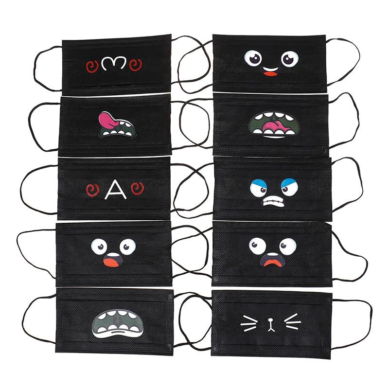 10Pcs Black Disposable Non Woven Cute Cartoon Respirator Outdoor Mouth Mask