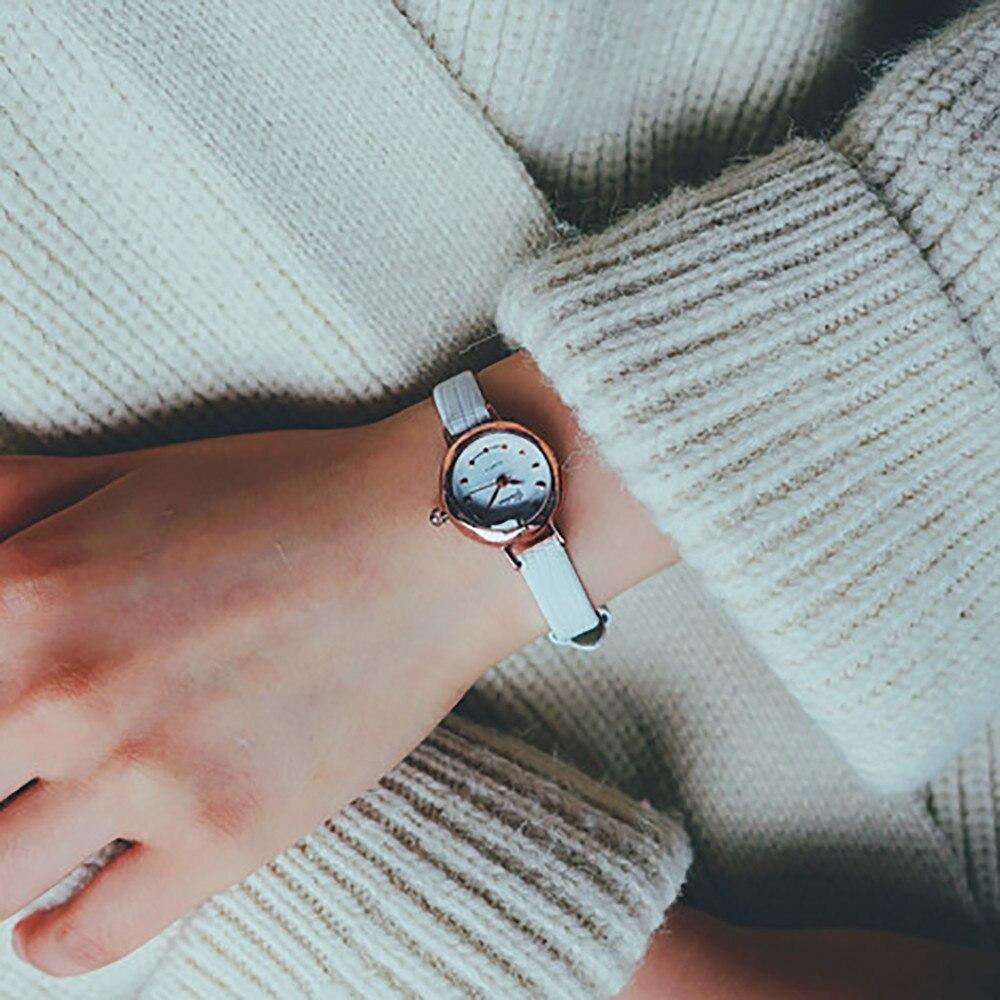 Casual feminino quartzo analógico pequeno dial delicado relógio senhoras moda negócios relógios de pulso de couro presentes relojes para mujer 5