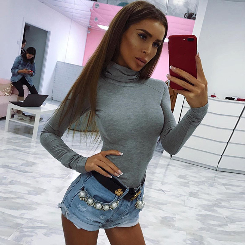 Cotton Long Sleeve High Neck Skinny Bodysuit 2019 Autumn Winter Women Black Gray Red Solid Sexy Body Suit