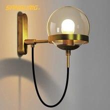 Darhyn настенный светильник современный стеклянный шар e27 медный