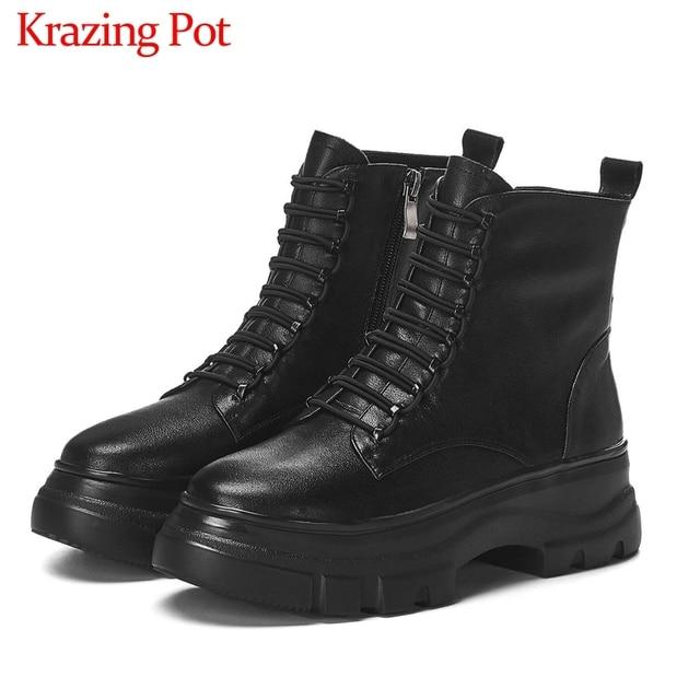 Krazingポット黒色本革ファッション防水ラウンドトゥレースアップ冬の女性暖かい快適なアンクルブーツL37