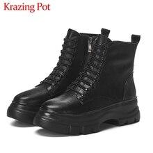 Krazing Pot siyah renk hakiki deri moda su geçirmez yuvarlak ayak dantel kadar kış kadın sıcak tutmak rahat yarım çizmeler L37