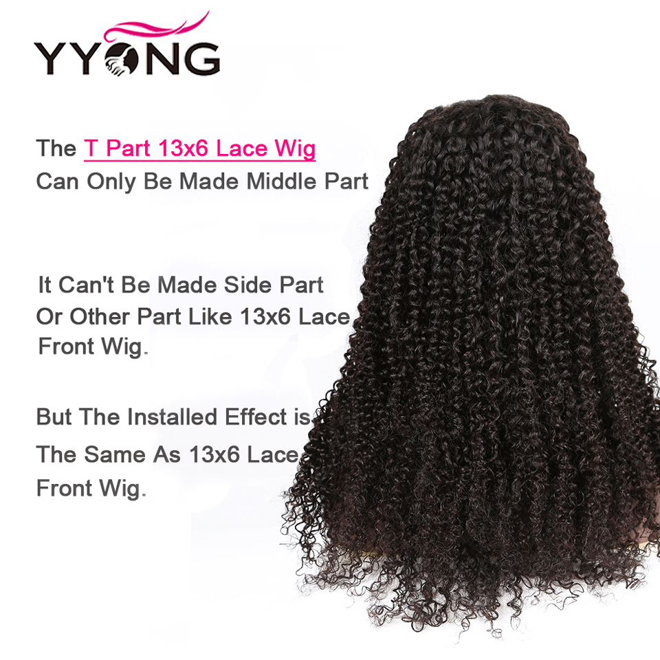 Yyong Hair 1x6 T Part Lace HD Transparent Lace  Wigs   Kinky Curly  Lace Part Wig 120% 2