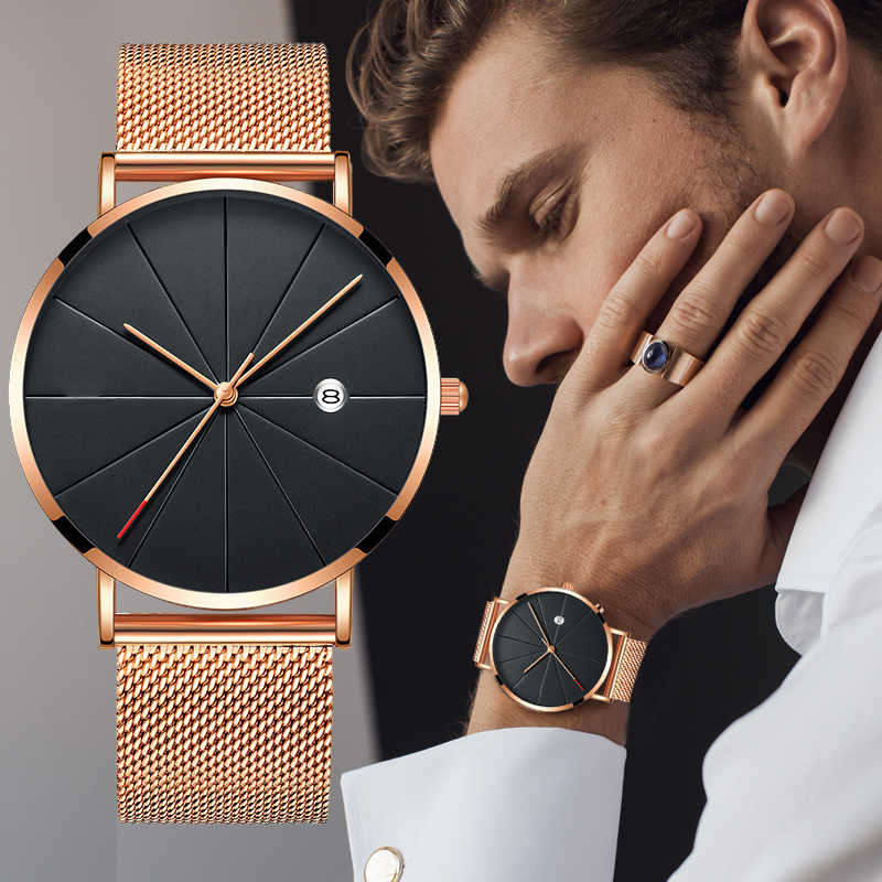 Relogio Masculino mannen Horloge Luxe Ultra-dunne Horloge Mannen Stalen Mesh Riem Mode Horloge Monte Homme Kalender Klok reloj Hombre