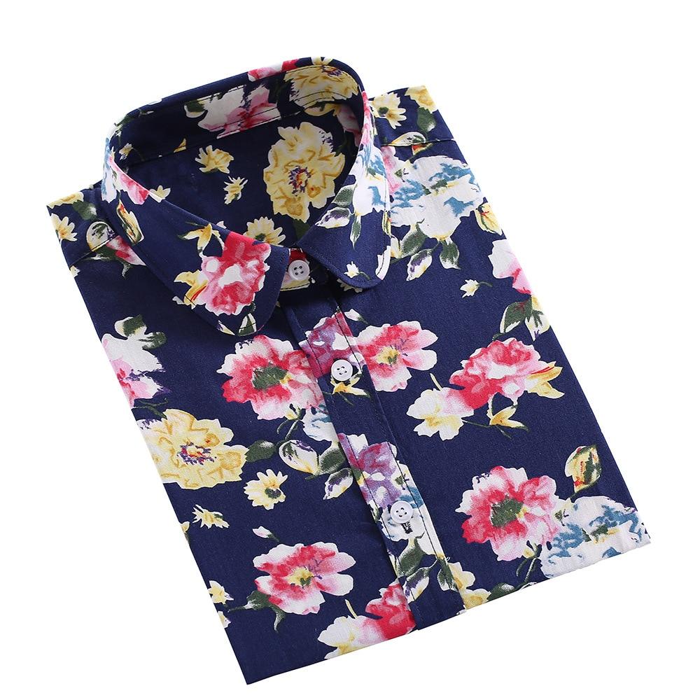 Dioufond Women Summer Print Shirt Casual Floral Blouse Cotton Ladies Tops Long Sleeve Blusas Femininas Plus Size Women Shirts
