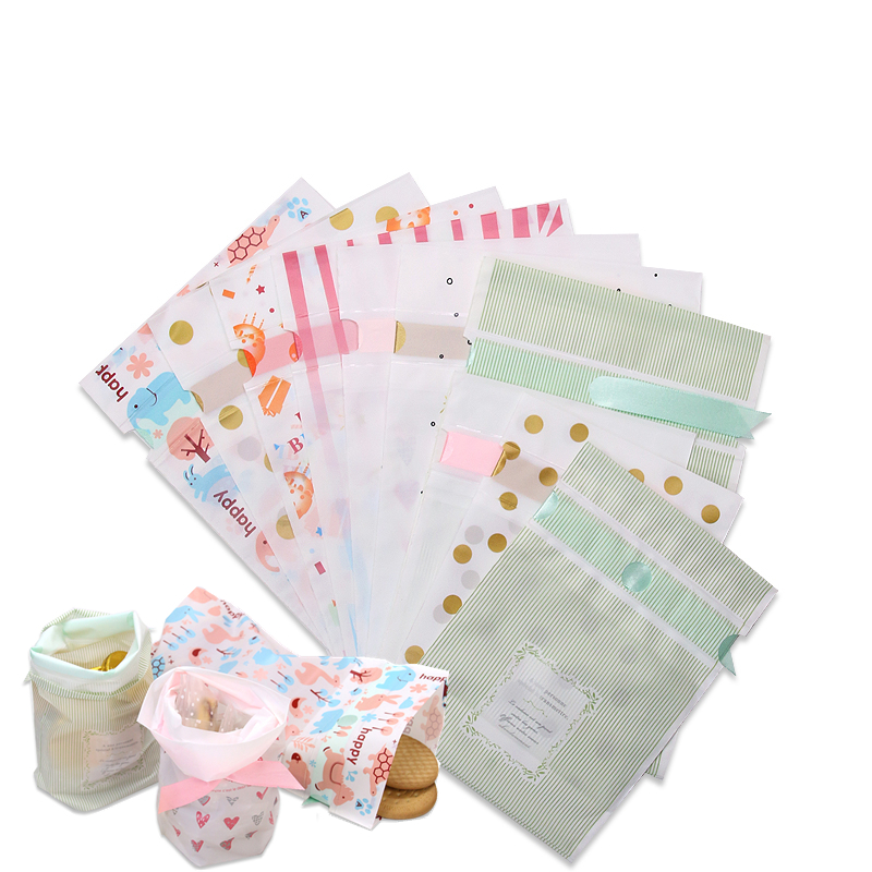 LBSISI Life 10pcs Plastic Drawstring Bag With Ribbon Cookie Snack Candy Bags Birthday Party Wedding Decor Favor Gift Bags