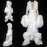 White Ruffles Tulle Long Sleeve Women Winter Kimono Pregnant Party Sleepwear Maternity Bathrobe Sheer Nightgown Photography Gown