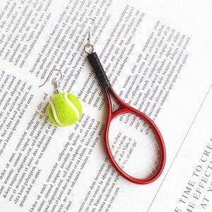 Koreańskie kolczyki moda tenis kolczyki dynda kręgle Pingpong nowe kobiety biżuteria przesadzone asymetryczny spadek kolczyki kolczyk