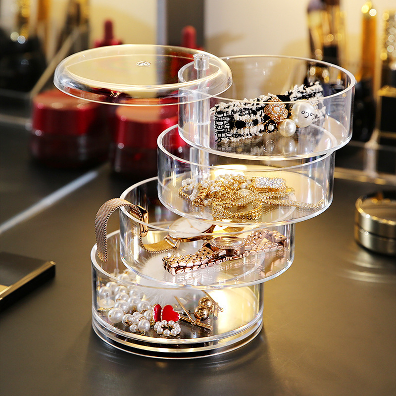 New Net Red Jewelry Box Organizers With Lid Dressing Table Makeup Box Ins Style Hair Accessories Storage Box Home Makeup Storage
