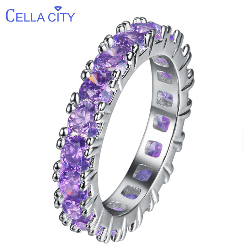 Cellacity Delicate Full Gemstones Ring For Women Silver 925 Jewelry Amethyst Powder Crystal Zricon Female Gift Engagement Dating