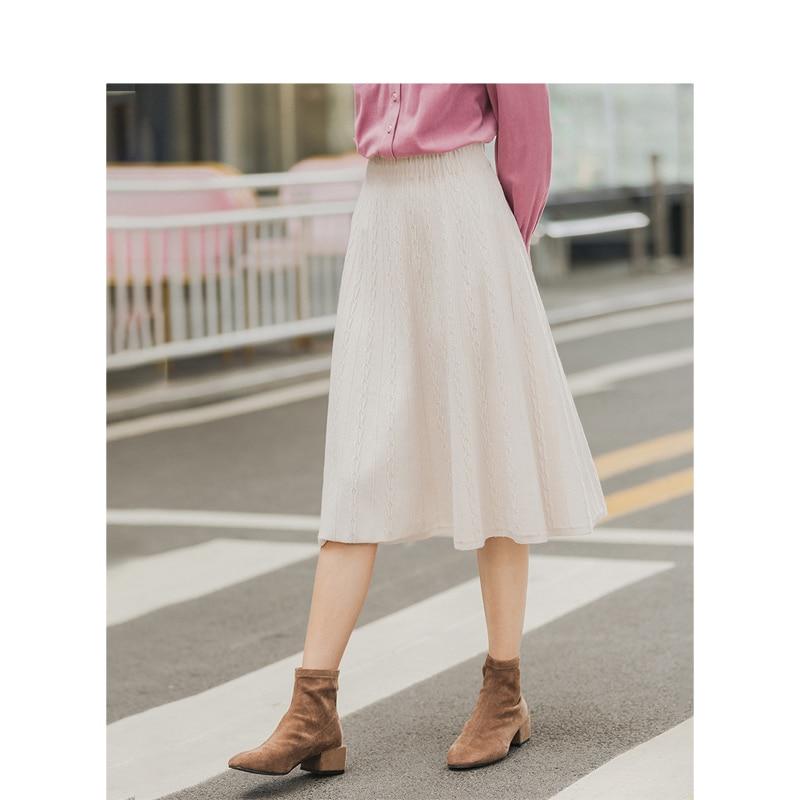 INMAN Winter Medium High Waist Solid Jacquard A-line Knitted Women Medium Skirt