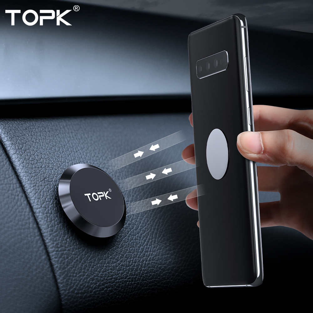 TOPK Magnetic Car Phone Holder Dashboard Cell Phone Stand Steering Wheel Holder Magnetic Wall Holder For IPhone Samsung Xiaomi