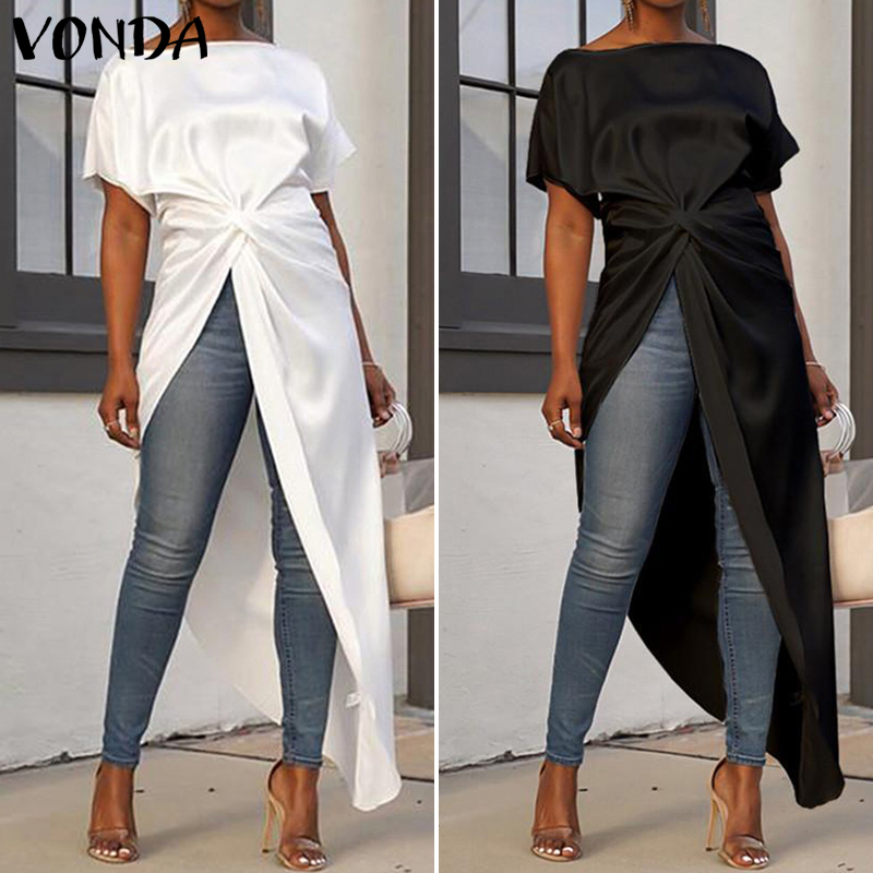 Long Robe Femme Bohemian Beach Party Dress 2019 VONDA Summer Casual Loose Holiday Solid Color Sundress Femme Vestidos Plus Size