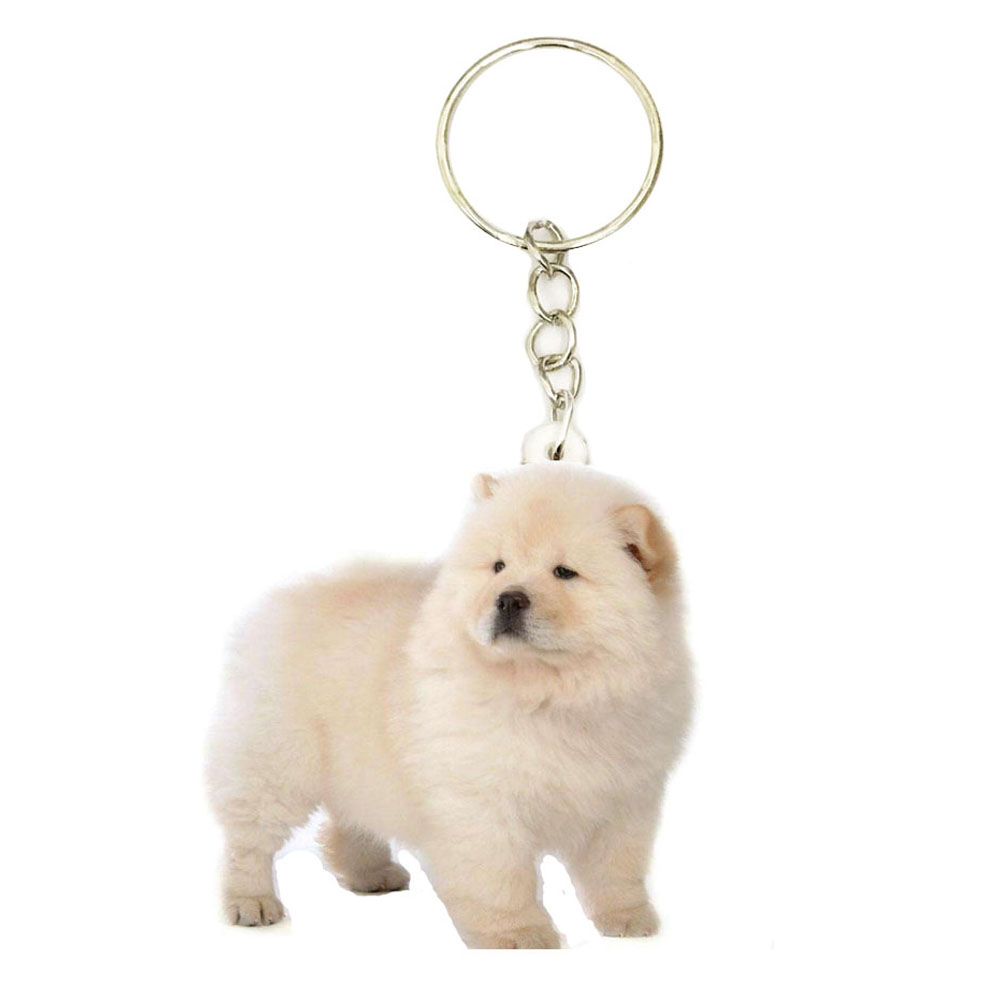 Chow Dog Acrylic Chowchow Keyring Fashion Stainless Steel Keychains Men Key Chain Ring Boyfriend Gift Gifts For Women Keyring
