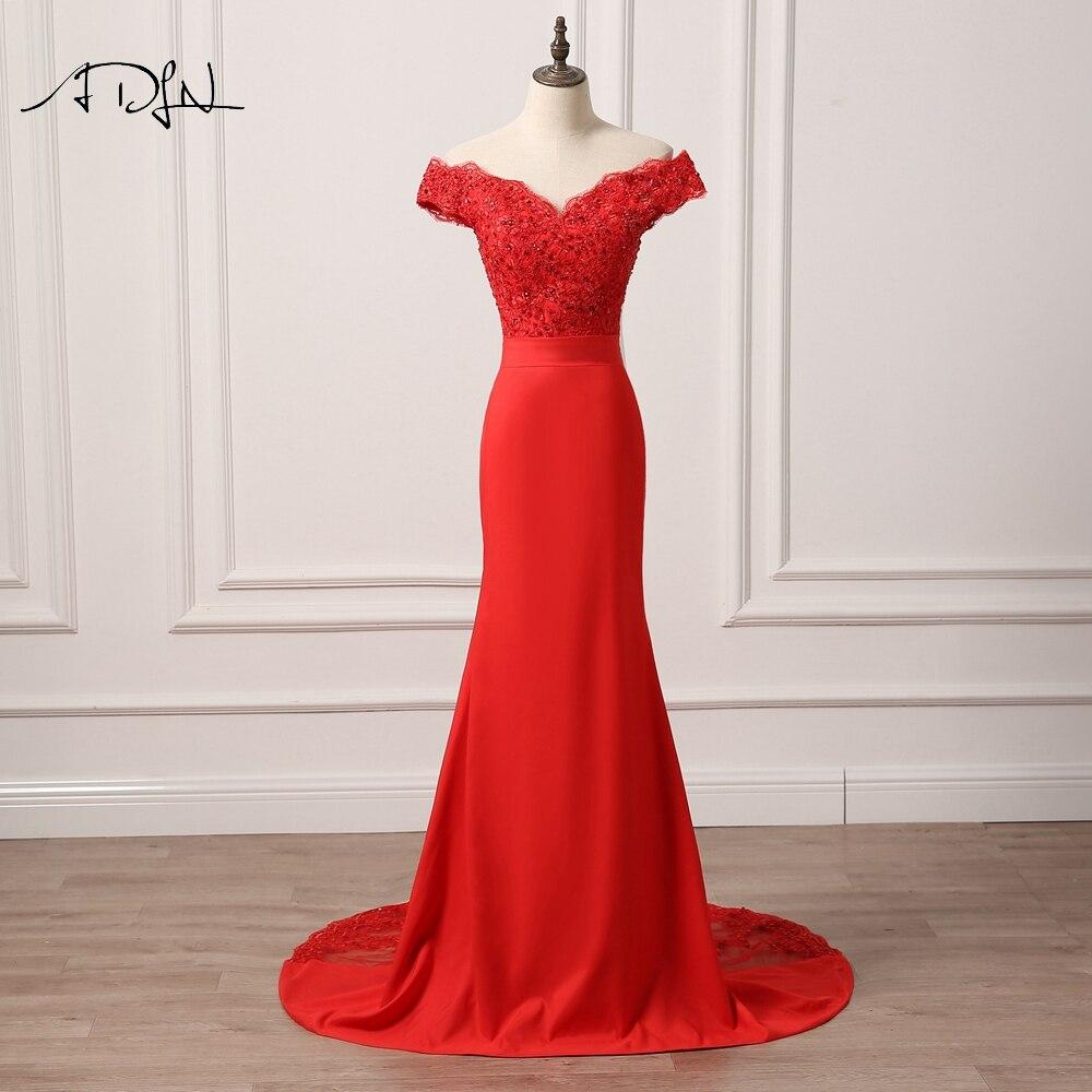 ADLN rouge sirène robes de demoiselle d'honneur sirène robe de soirée longue robe de mariée perlée robe formelle