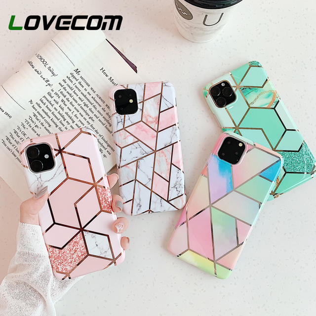 LOVECOM Geometric Marble Phone Cases For iPhone 11 Pro Max XR XS Max 6 6S 7 8 Plus X Soft IMD Electroplated Back Cover Coque 2
