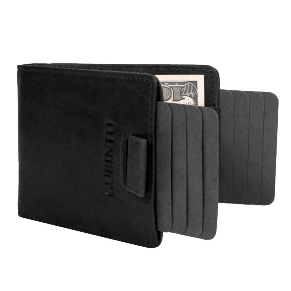 GUBINTU Men's RFID Slim Wallet with Double Pull-out Leather Antimagnetic RFID Wallet Ultra Thin Wallet Male Leather Card Purse