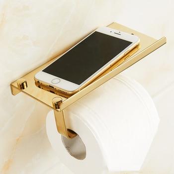 Suporte de telefone de papel de banheiro Prateleira Suporte de papel higiênico de aço inoxidável Suporte de parede Telefones celulares Rack de toalha Acessórios do banheiro 1