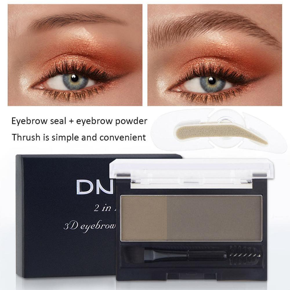 Double Color Eyebrow Powder Makeup Palette Natural Brown Eye Brow Enhancers 3D Eye Brows Shadow Cake Beauty Kit with Brush 1
