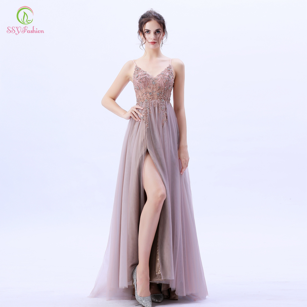 SSYFashion New High end Evening Dress Luxury Handmade Sequins Beading Backless V neck Lllusion Prom Formal