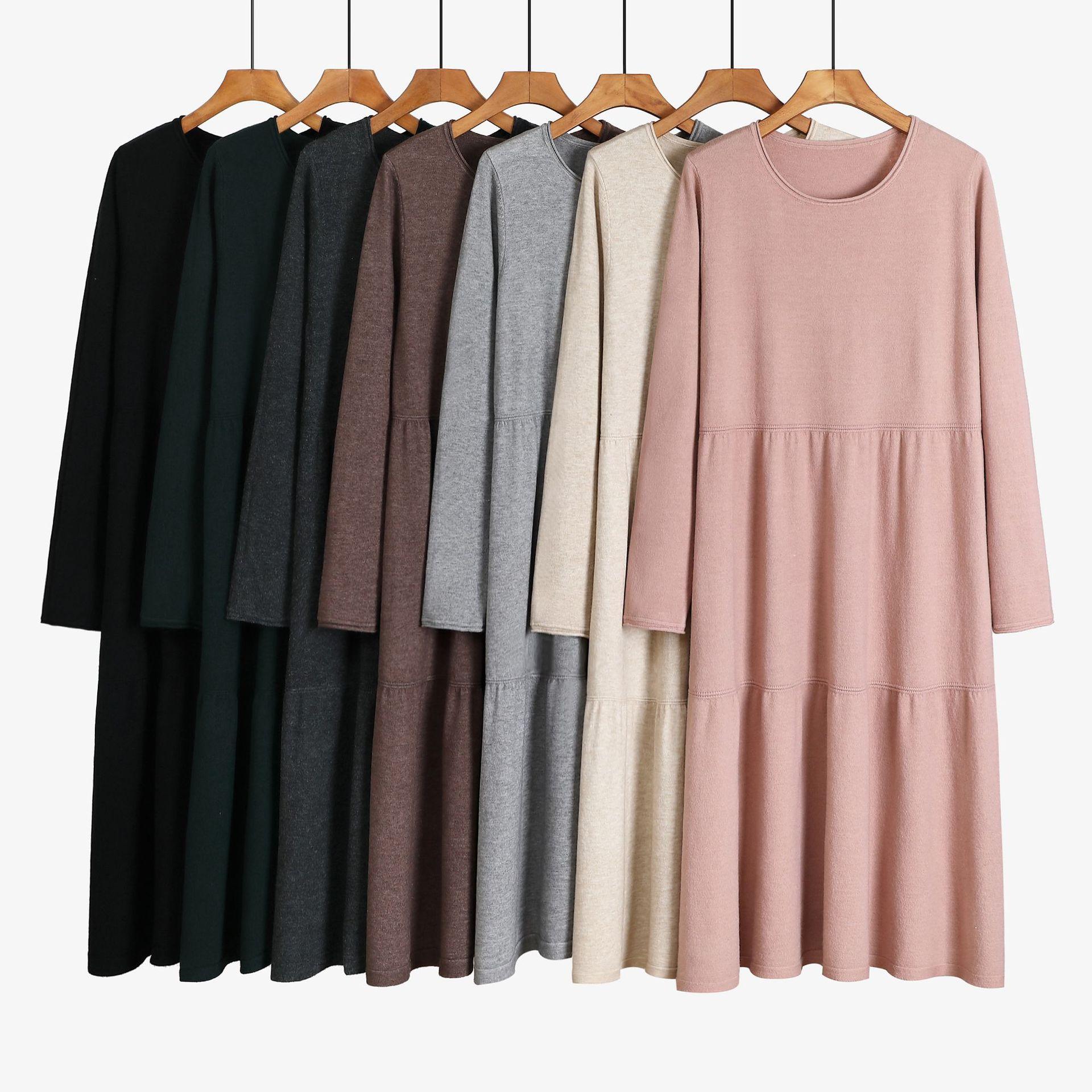 Офисное женское длинное трикотажное прямое платье свитер, плотное теплое платье трапеция с круглым вырезом, осенне зимний пуловер средней длины, платье большого размера|Водолазки| | АлиЭкспресс
