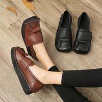 Frauen Leder Pumps Retro Schuhe Damen Herbst Niedrigen Absätzen Faul Schuhe Schwarz Soft Echtes Leder Frauen Pumpen Schwarz Handgemachte Schuhe