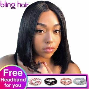 Image 1 - Straight Bob Human Hair Wigs 4x4 Lace Closure Wigs Brazilian Straight Lace Front Human Hair Wigs Remy Short Bob Wig bling hair
