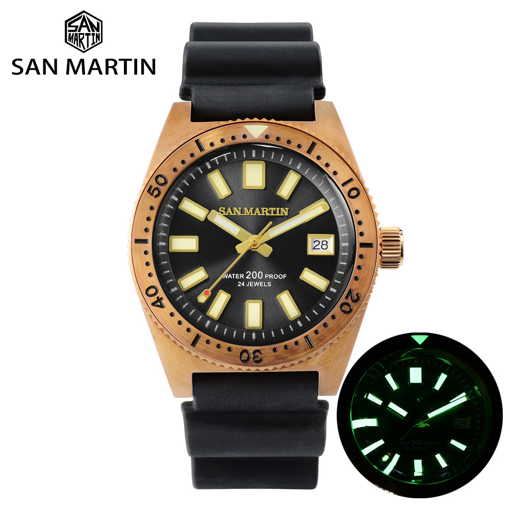 San Martin Tin Bronze 62Mas Diver Automatic Mechanical Men Watch NH35 Sapphire Bronze Bezel Sunray Dial Rubber Calendar Luminous