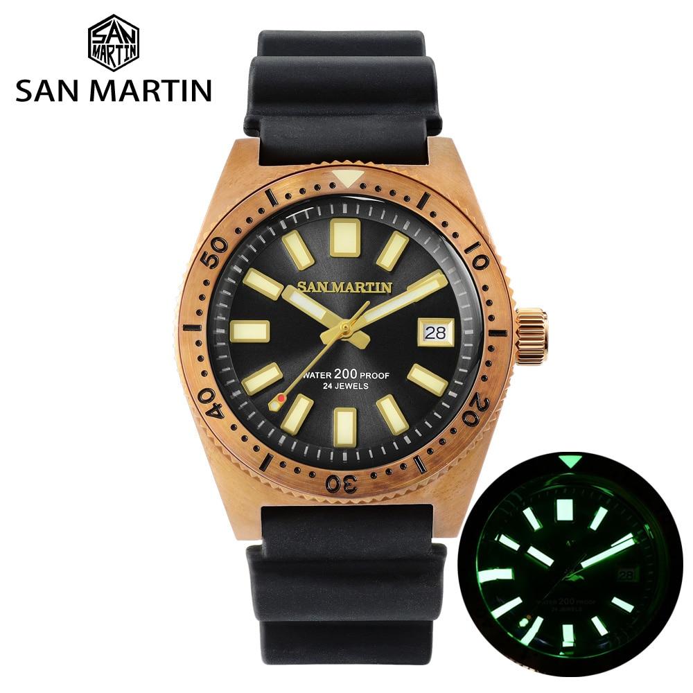 San Martin Tin Bronze 62Mas Diver Automatic Mechanical Men Watch NH35 Sapphire Bronze Bezel Sunray Dial Rubber Calendar Luminous