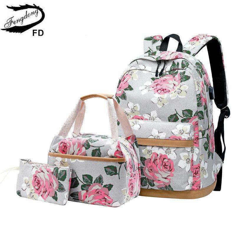 FengDong 3 pçs/set flor estilo coreano lona mochila escolar crianças floral saco de livro set sacos de escola para adolescentes meninas bagpack