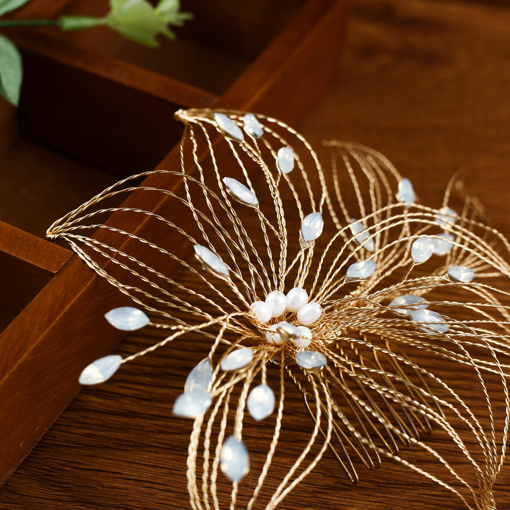 TRiXY H257 Elegant Wired Crystal Rhinestone Wedding Hair Comb Handmade Wedding Hair Pin Bridal Headpieces Wedding Hair Jewelry
