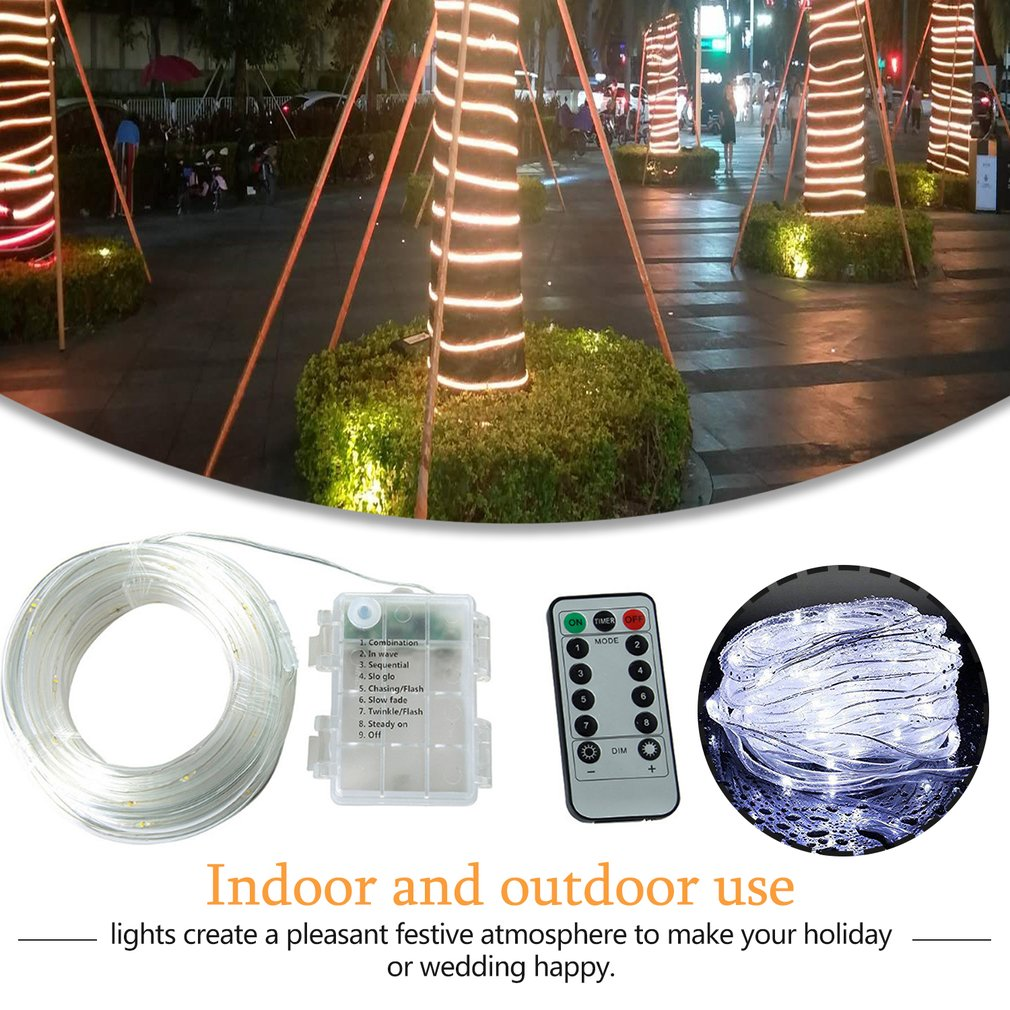 100 LED Battery Powered Rope Tube String Lights With Remote Multi Colored Dimmable Waterproof Vine Light For Home Decoration Hot
