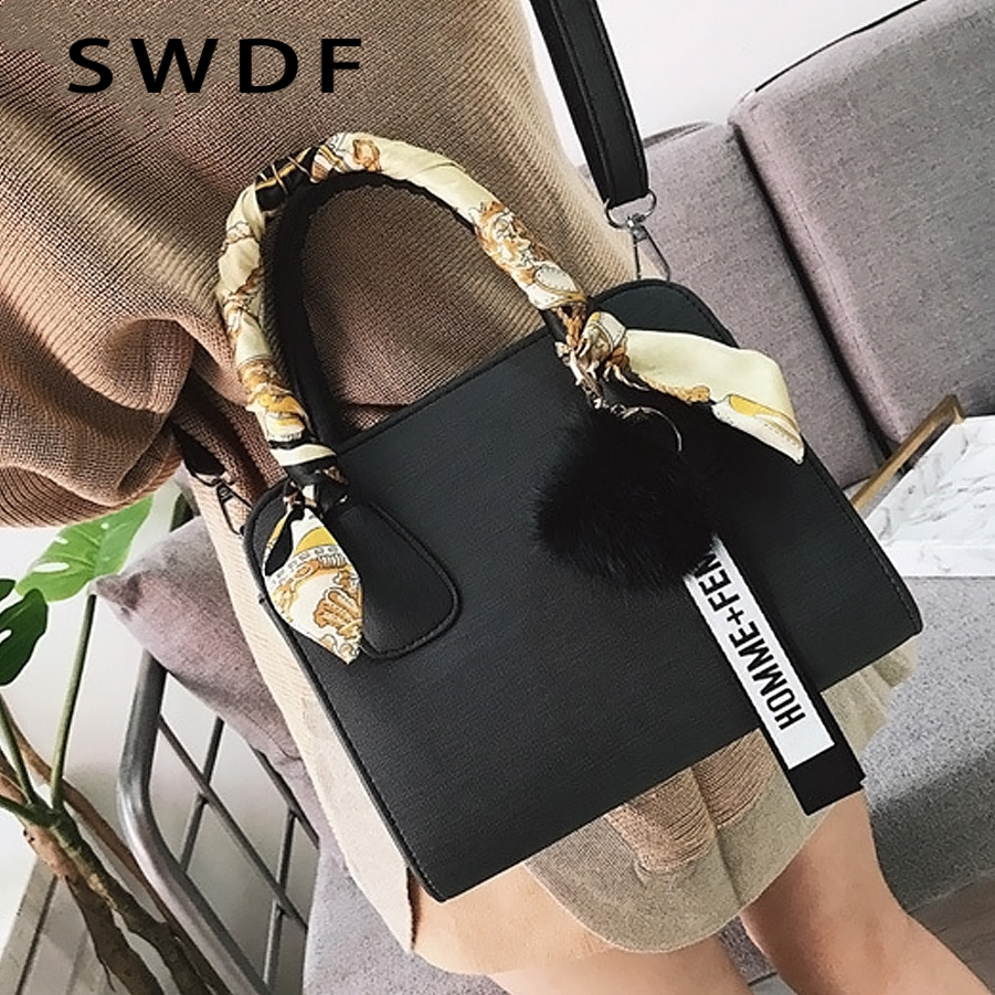 SWDF Luxury Handbags New Designer Brand Shoulder Bags Fur Ball Ladies SAC A Main Lady Candy Bow Scarf Women Bags Trend Handbag